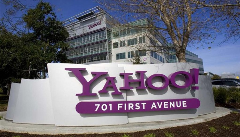 File photo of a Yahoo! signs siting out front of their headquarters in Sunnyvale