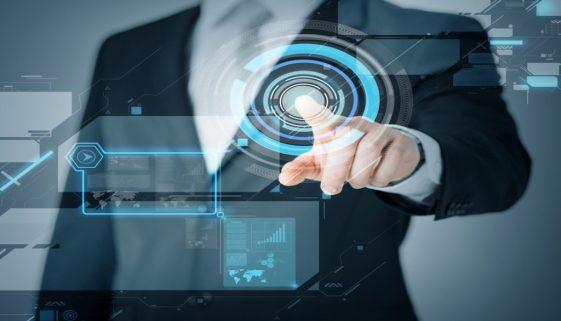 man hand pointing at virtual screen