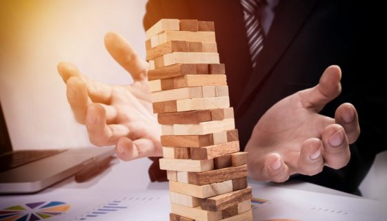 Planning, risk and strategy in business concept, businessman gam