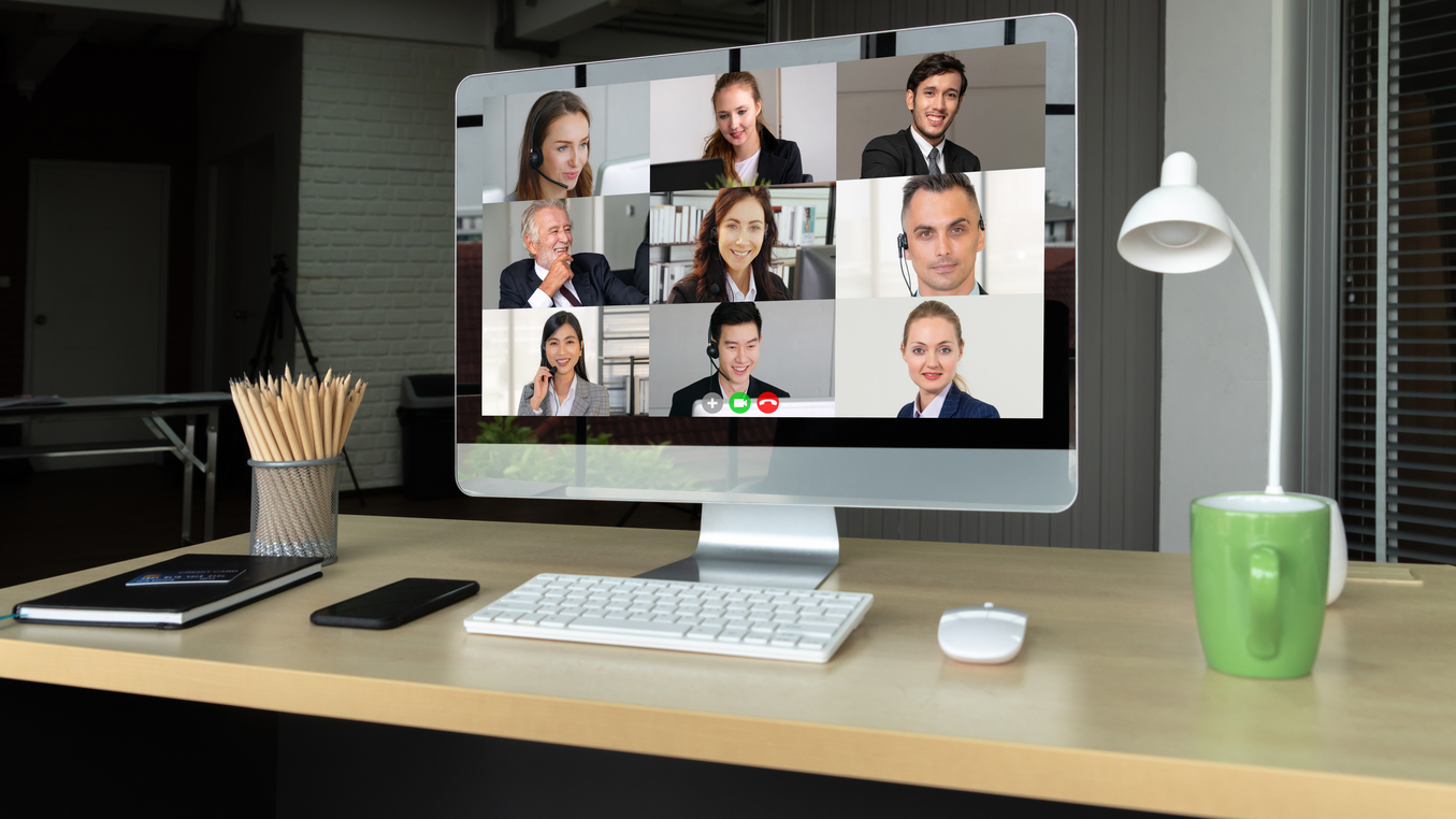 Video call business people meeting on virtual workplace or remot